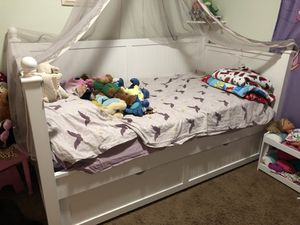 Ashley kids twin trundle bed and dresser changing table for Sale in Phoenix, AZ