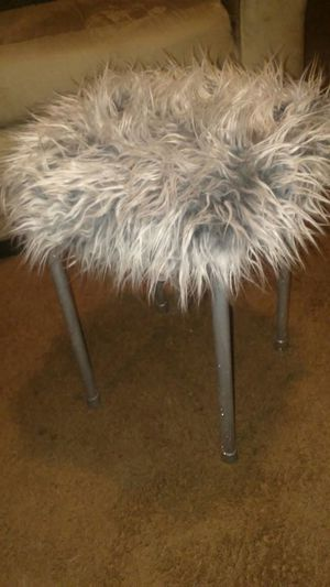 Custom Silver glitter faux fur stool for Sale in Baltimore, MD