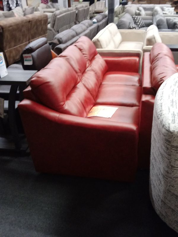 Red Bonded Leather sofa loveseat (Furniture) in Greensboro, NC - OfferUp