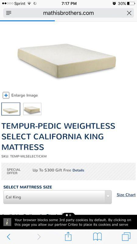 NEW CA KING TEMPURPEDIC MATTRESS