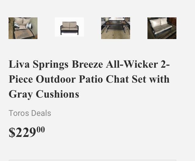Liva Springs Breeze All-Wicker 2-Piece Outdoor Patio Chat Set with Gray Cushions