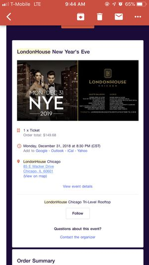 London House Chicago New Years Eve 2019 for Sale in Chicago, IL