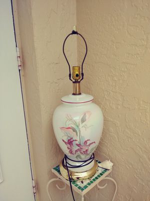 Glass lamp with flowers. Shade optional for Sale in Fort Myers, FL