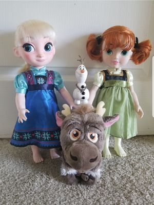 "Disney Store Frozen dolls Animator's Elsa 16"" and Disney Collection Ana toddler doll with reindeer S for Sale in Sanford, FL"