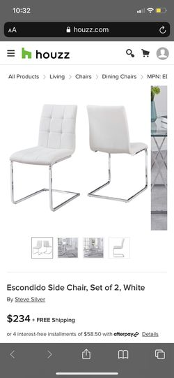 4 White Leather dining room chairs in great condition Thumbnail