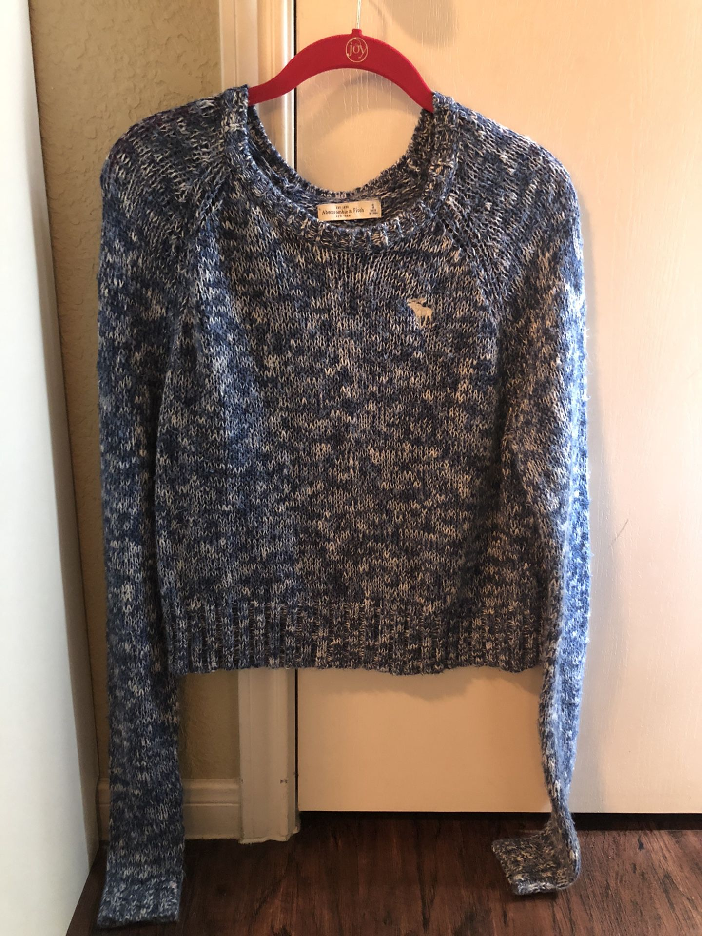 Abercrombie & Fitch Blue & White Knit Sweater, Small