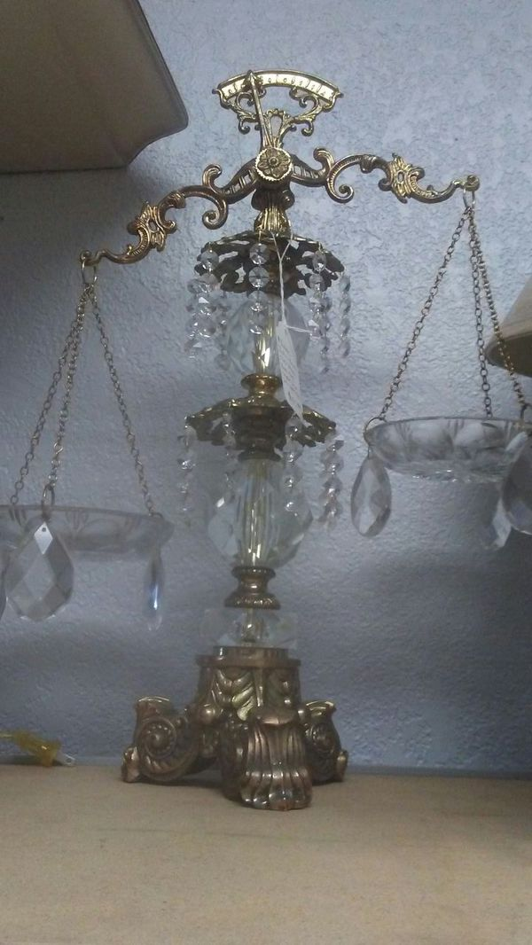 Vintage Rare Ornate Lead Crystal SCALES OF JUSTICE Balance W. Germany L&L  WMC