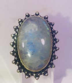 Natural fiery blue rainbow 🌈 moonstone large oval stone & .925 stamped sterling silver embellished ring size 7 NEW! Thumbnail