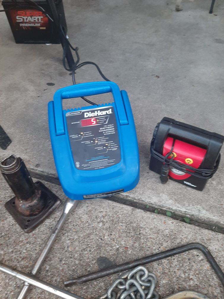 Die hard plug in battery charger a inflator jack haul chain 4 lug and single lug tire