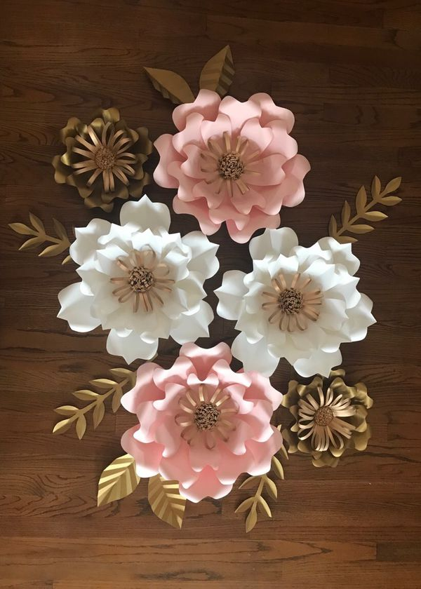 Pink Blush White And Gold Paper Flower Backdrop Party Decoration New For Sale In Paramount Ca Offerup
