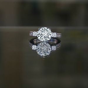 Three Stone Sterling Silver Ring with intense Round Center Simulated Diamond - Diamond Veneer® Miligree Vintage Style Simulated Engagement Ring for Sale in San Diego, CA