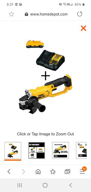 Photo DEWALT 20-Volt MAX Lithium-Ion Cordless 4-1/2 in. Grinder (Tool-Only) with Bonus Battery Pack 3.0Ah and Charger