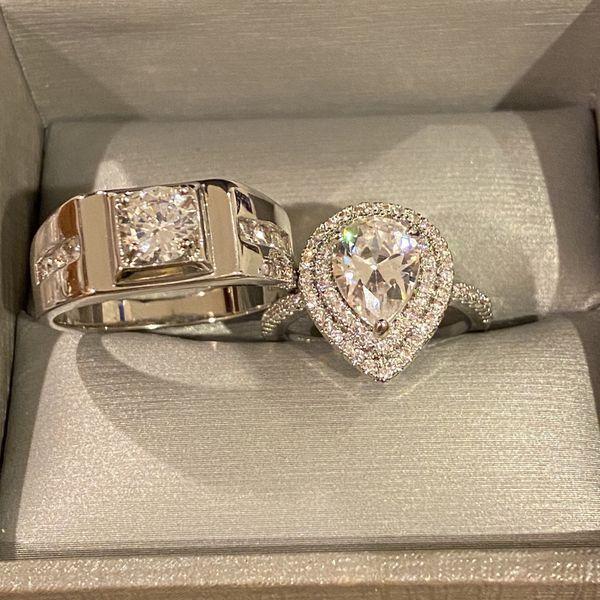 Stamped 925 Sterling Silver Engagement/Wedding Ring Set- Code 561