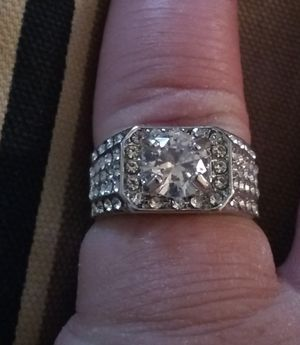 Sterling silver man's ring with white cz diamonds. Size 11 for Sale in Glen Burnie, MD