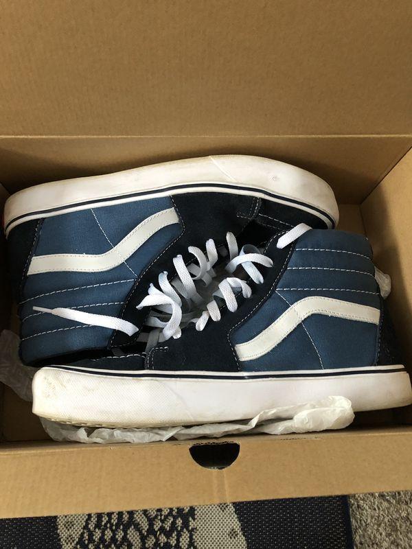 Vans SK8-Hi Lite Navy White Canvas Unisex Men s Women s Shoes for ... 6953b13636a5