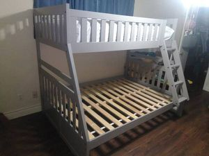Photo Grey Solid Wood Twin over Full Bunk Bed - new in boxes