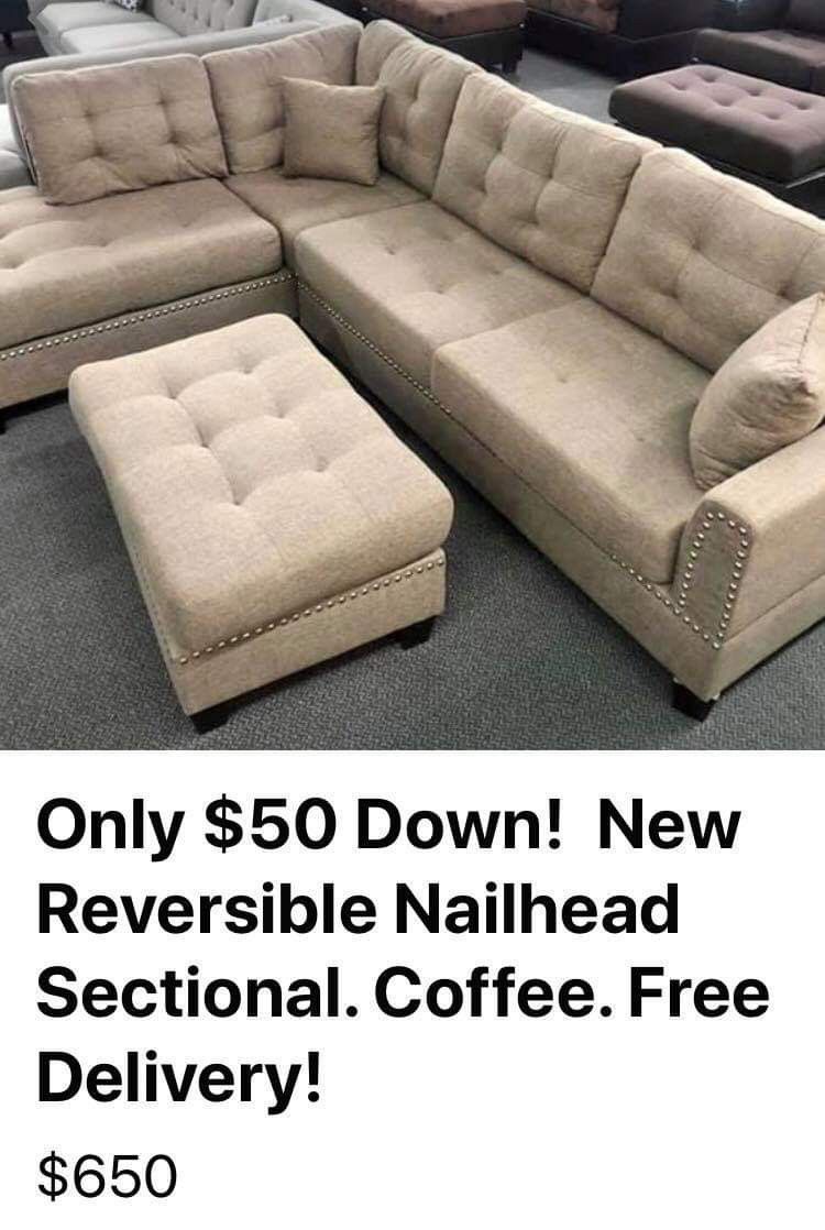 New Coffee Sectional Couch with ottoman only $50 down payment