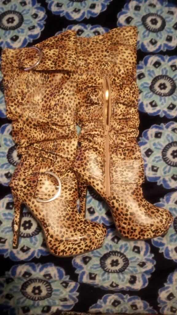 Women's Cheetah Print High Heel Boots