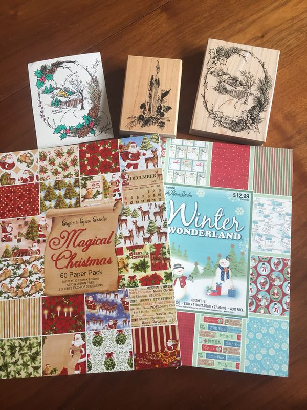 Christmas Card Making Supplies Paper Rubber Stamps For Sale In Coral