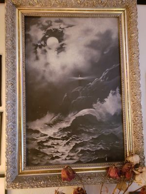 Light House Oil Painting circa late 1800s for Sale in Seattle, WA