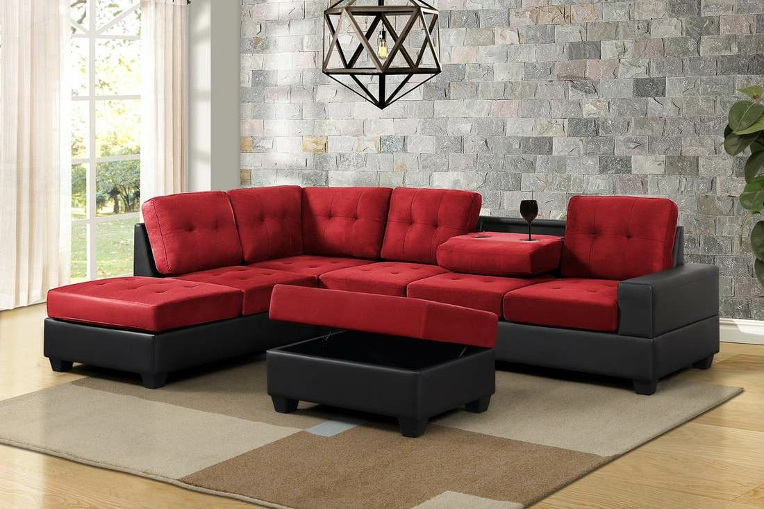 [SPECIAL] Heights Red/Black Reversible Sectional with Storage Ottoman Couch sofa