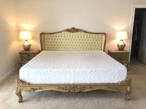 French style king bed + 2 side tables + 2lamps+ mattress for Sale in Chantilly, VA