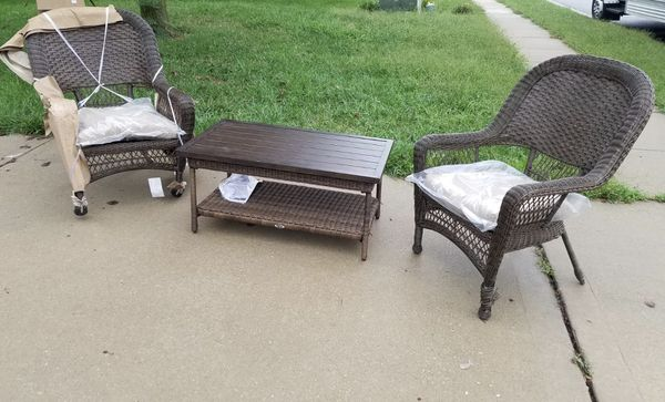 New Assembled Beacon Park Wicker Outdoor Furniture And With A Coffee Table For In Kansas City Mo Offerup