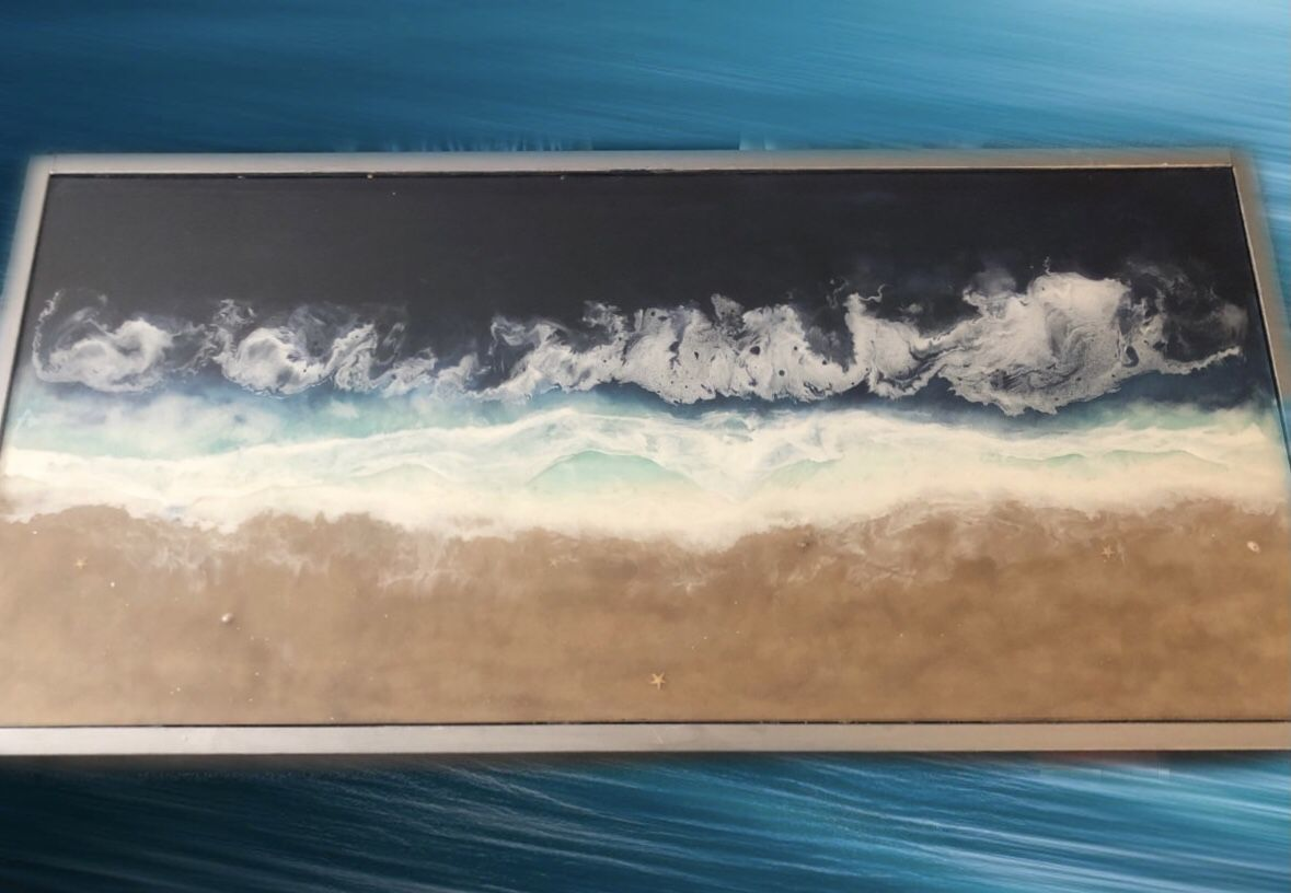 Beach Resin Coffee Table With Glass Cover