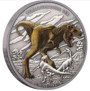 Photo 1 oz Silver T-Rex Colorized Coin w/ Box and COA