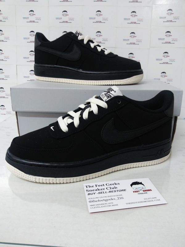 13a7a2ea97593 Nike Air Force 1 Low Black Suede Youth Shoes Size 5 Or Women's Size ...