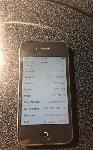 Apple IPhone 4 8GB Black AT&T for Sale in Rockville, MD