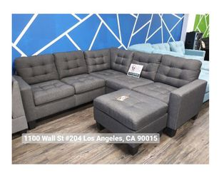 REAL SHOWROOM 😁 WE FINANCE - BLUE GREY L SHAPE COUCH SOFA SECTIONAL WITH OTTOMAN MODERN COUCHES Thumbnail