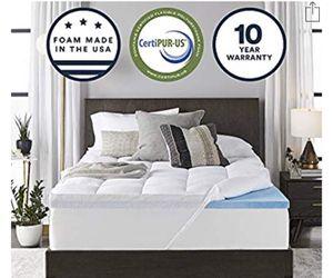 Photo Queen mattress 4-inch Dual Layer Gel Memory Foam Enhanced Support topper