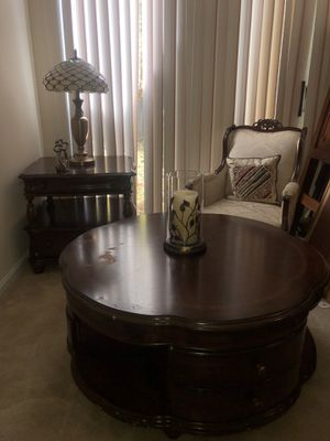 COFFEE TABLE & CORNER TABLE - Antique, Solid Wood. With 2 Antique Chairs . for Sale in Reston, VA