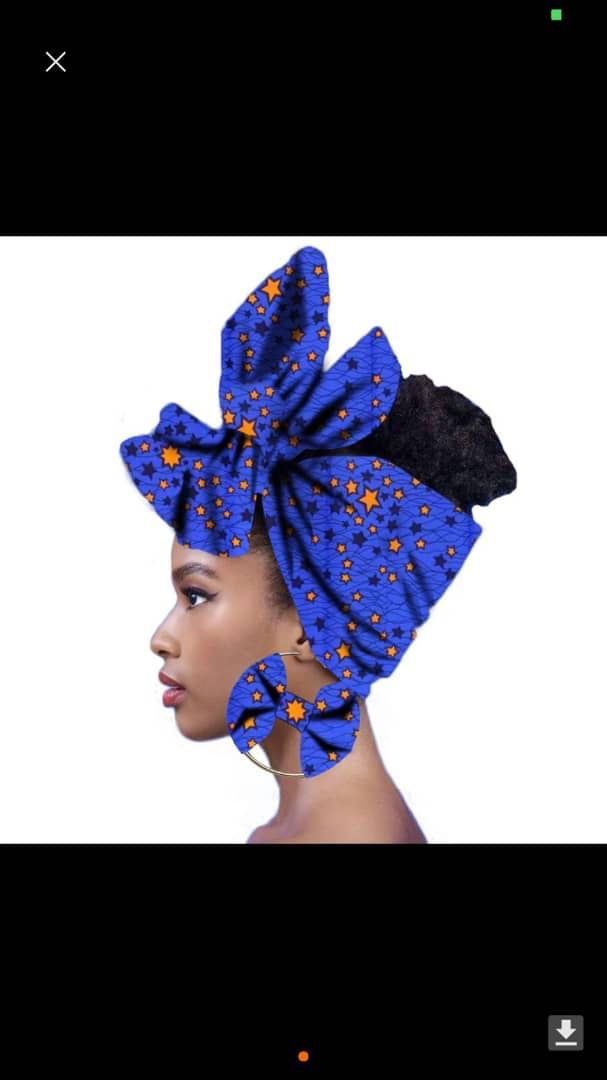 Head wrap and matching earrings