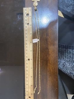 10k gold rope chain and pendant combo for a good price!! Thumbnail