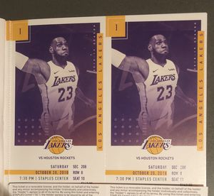 Lakers vs Rockets Sat 10/20 Sec 208 Row 8 for Sale in Santa Monica, CA