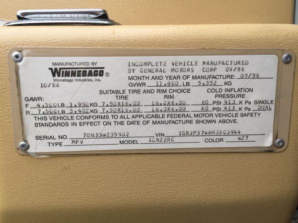 1987 Itasca Winnebago Sunflyer