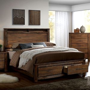 Photo Queen bed antique oak with matress on sale $650🎈🎈🎈