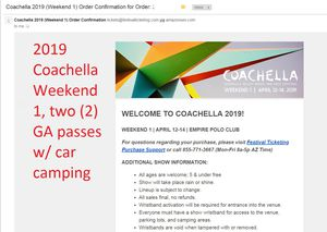 2019 Coachella weekend 1, two (2) GA tickets with car camping for Sale in San Francisco, CA