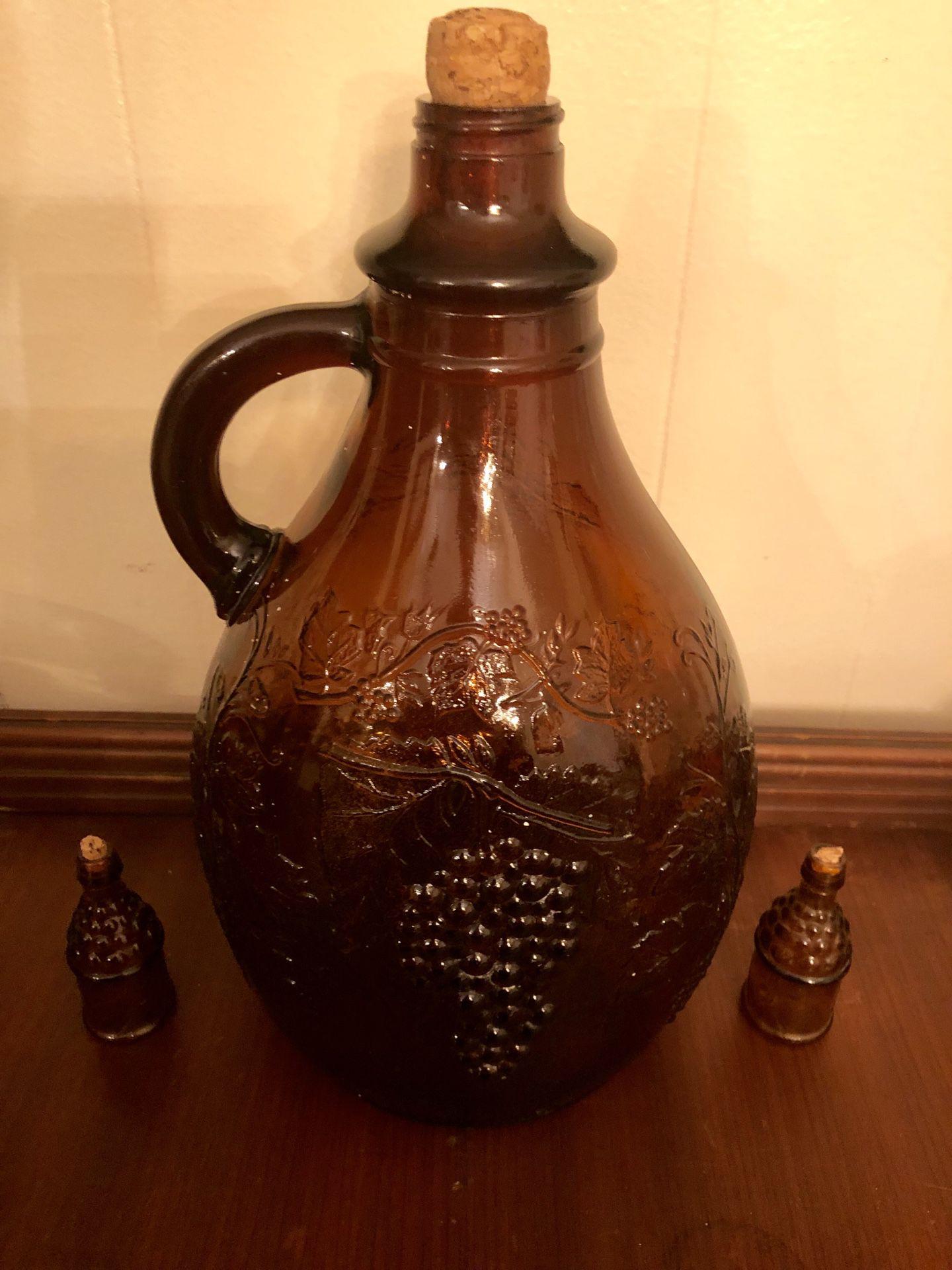 Vintage Antique Brown 1 Gallon Wine Jug
