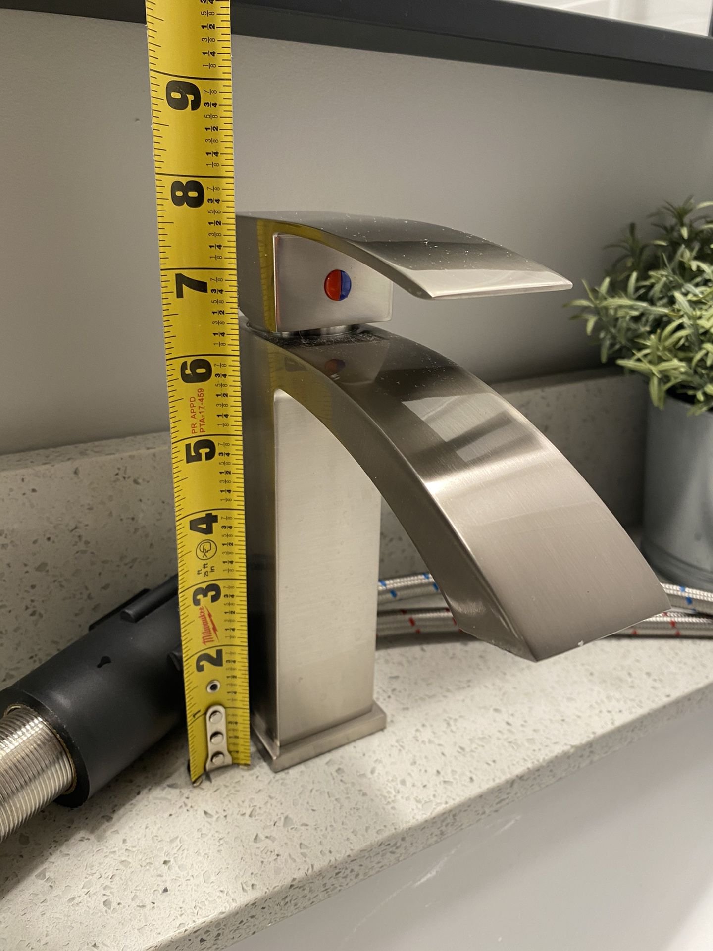 Two - Brushed Nickel Waterfall Faucets
