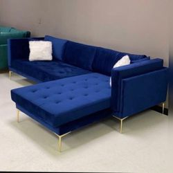 💙Naila Blue Velvet Sectional Couch |~ Special Price | Free Same Day Delivery 🚚↔️ Thumbnail