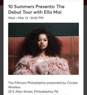 2 tickets Ella Mai for Sale in Philadelphia, PA