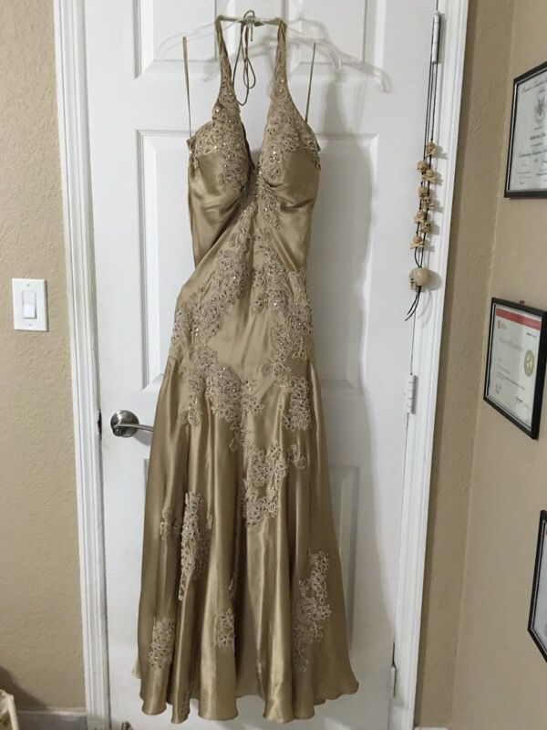 Designer 100% silk prom dress with hand-stitched embroidery