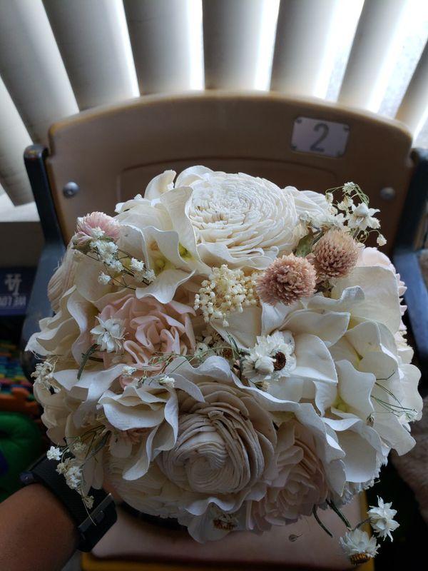 Dried & Preserved Flower Bouquet. Cream, pink, creamy white, ivory 7 ...