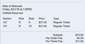 Nats tickets 9/21 for Sale in Alexandria, VA