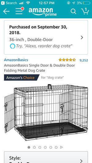 36 inch double door dog kennel / crate — purchased 09/18 for Sale in Arlington, VA