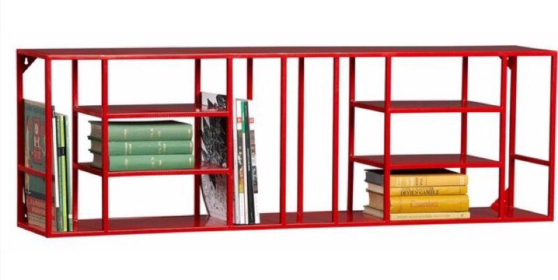 CB2 Red Metal Hanging Shelving Unit