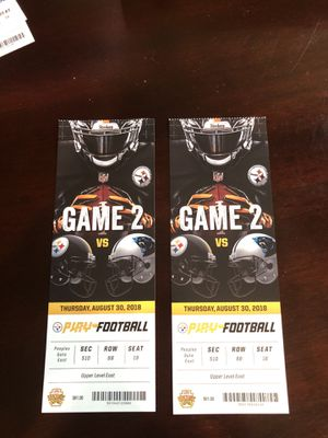 2 tickets for Steelers vs Panthers preseason game on 8-30-18 for Sale in Ashburn, VA